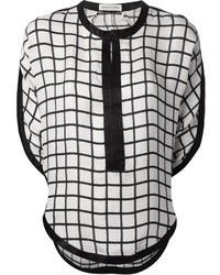 Blusa de manga corta de tartán en blanco y negro de Etoile Isabel Marant