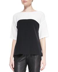 Blusa de manga corta en negro y blanco