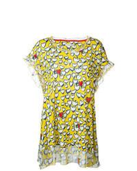 Blusa de manga corta estampada amarilla