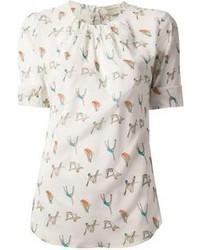 Blusa de manga corta estampada blanca