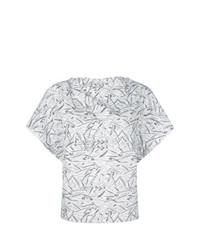 Blusa de manga corta estampada blanca de Chalayan