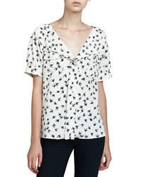 Blusa de manga corta estampada en blanco y negro