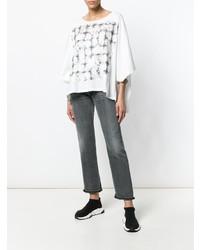 Blusa de manga corta estampada en blanco y negro de MM6 MAISON MARGIELA
