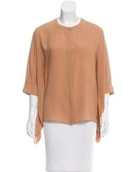 Blusa de manga corta marrón claro
