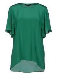 Blusa de manga corta verde oscuro