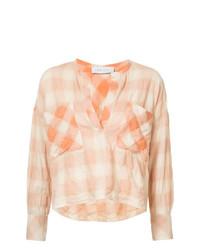 Blusa de manga larga a cuadros naranja de IRO