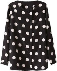 Blusa de manga larga a lunares en negro y blanco
