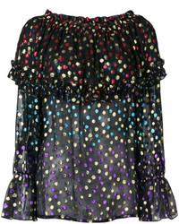 Blusa de manga larga a lunares negra de Saint Laurent