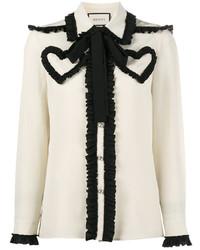 Blusa de Manga Larga Blanca y Negra de Gucci