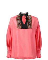Blusa de manga larga bordada rosa de Etro