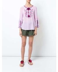 Blusa de manga larga bordada rosada de Figue