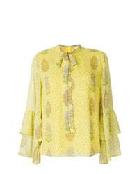 Blusa de manga larga con print de flores amarilla