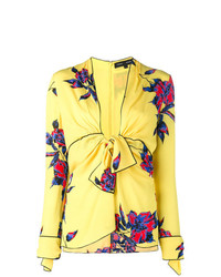 Blusa de manga larga con print de flores amarilla de Proenza Schouler