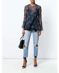 Blusa de manga larga con print de flores azul marino de IRO