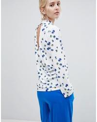 Blusa de manga larga con print de flores blanca de ASOS WHITE