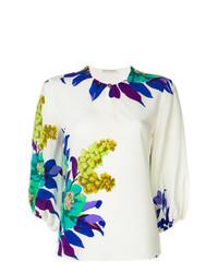 Blusa de manga larga con print de flores blanca de Etro