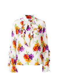 Blusa de manga larga con print de flores blanca de MSGM