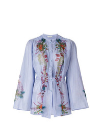 Blusa de manga larga con print de flores celeste de Etro