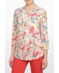 Blusa de manga larga con print de flores en beige