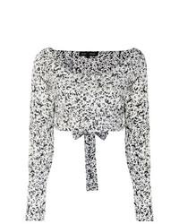 Blusa de manga larga con print de flores en blanco y negro de Proenza Schouler