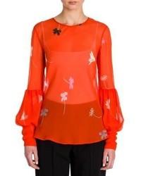 Blusa de manga larga con print de flores naranja