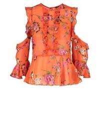 Blusa de manga larga con print de flores naranja de Miss Selfridge