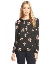 Blusa de manga larga con print de flores negra