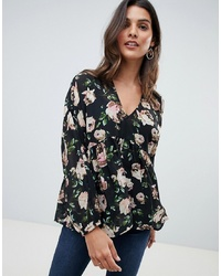 Blusa de manga larga con print de flores negra de ASOS DESIGN