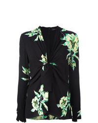 Blusa de manga larga con print de flores negra de Proenza Schouler