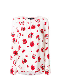 Blusa de manga larga con print de flores rosada de Proenza Schouler