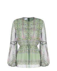 Blusa de manga larga con print de flores verde oliva de Giambattista Valli