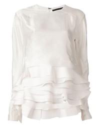Blusa de manga larga con volante blanca de Haider Ackermann