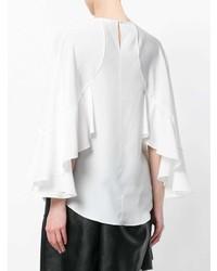 Blusa de Manga Larga Con Volante Blanca de Chloé