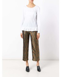 Blusa de manga larga con volante blanca de Jucca
