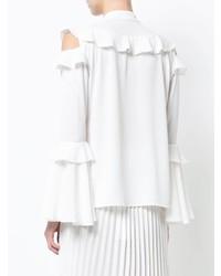 Blusa de manga larga con volante blanca de Patbo