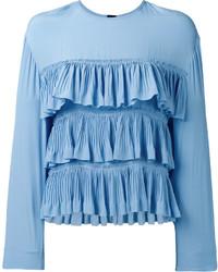 Blusa de manga larga con volante celeste de Marni