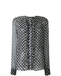 Blusa de manga larga con volante negra de Haider Ackermann