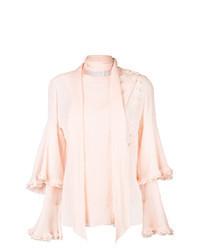 Blusa de manga larga con volante rosada