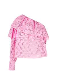 Blusa de manga larga con volante rosada de MSGM