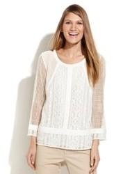 Blusa de manga larga de crochet blanca