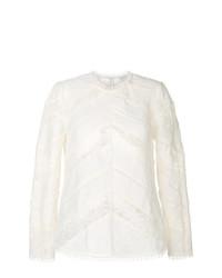 Blusa de manga larga de crochet en beige de Zimmermann