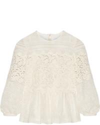 Blusa de manga larga de encaje blanca de Burberry