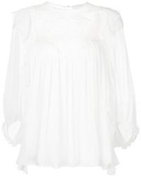 Blusa de manga larga de encaje blanca de Chloé