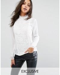 Blusa de manga larga de encaje blanca de Missguided