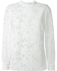 Blusa de Manga Larga de Encaje Blanca de Saint Laurent