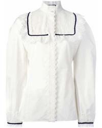 Blusa de manga larga de encaje con volante blanca de Gucci