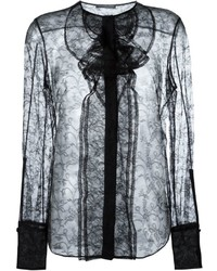Blusa de manga larga de encaje negra de Alexander McQueen
