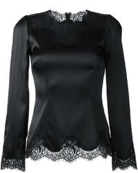 Blusa de manga larga de encaje negra de Dolce & Gabbana