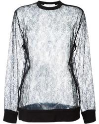 Blusa de manga larga de encaje negra de Givenchy