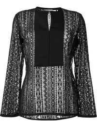 Blusa de manga larga de encaje negra de Lanvin